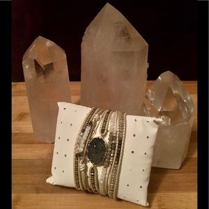 Nakmol Druzy and Crystal, Leather, Silver Bracelet